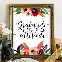 Gratitude quote wall art print decor art flower wall art decor framed quotes printable wisdom wall quotes modern calligraphy wall art print