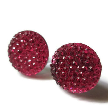Circle Stud Earrings, Pink, Geometric Jewelry, Round Shapes, Hypoallergenic