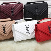"""YSL"" Fashion Stripe Letter All-match Embossing Metal Chain Single Shoulder Messenger Bag Women Solid Color Flip Small Square Bag"