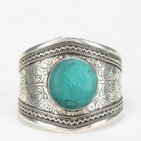 Emerald Etched Stone Cuff Bracelet  - Urban Outfitters