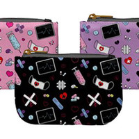 Kawaii Cute Harajuku Medicine Medical Hospital Pill Bandage Anime Manga Love Sick Pop Kei Pastel Goth Menhera Pouch Coin Purse (Small)