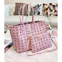 MCM Classic Fashion Women Shopping Bag Leather Handbag Tote Satchel Crossbody Shoulder Bag Purse Wallet Set Two Piece Pink