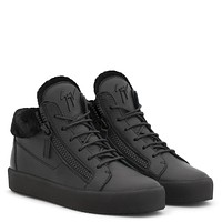 Giuseppe Zanotti Gz Kriss Winter Black Leather Mid-top Sneaker With Fur Inside