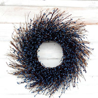 Fall Wreaths-COUNTRY CHIC BLUE Twig Wreath-Winter Door Wreath-Rustic Holiday Wreath-Blue Home Decor-Gifts-Custom Wreaths-Scented Wreaths