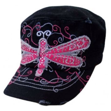 Adorable Pink Dragonfly Crystal Accented Black Hat, Cadet Hat, Women's Accessories