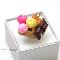 Kawaii lolita ice cream cookie chocolate ring