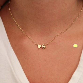 Hot fashion 26 letter & heart-shaped charm pendant necklace women simple necklace,lovers gift gold plated silver initial choker