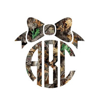 Camo Monogram with Bow -  Decal - Custom Decal - Southern - Camouflage - Choose your size, Colors, & Monogram! Real Tree Yeti Decal