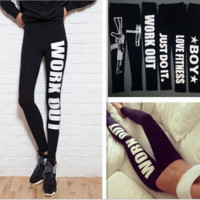 Work Out letters cotton low-rise leggings White