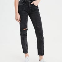 High-Waisted Girlfriend Jean, Destroyed Black