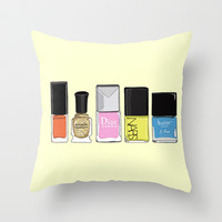 Your Favorite Nail Polish Combo  Throw Pillow by 23madisonstudio