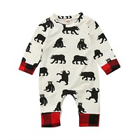 born Kid Baby Boy Girl Bear Clothes Jumpsuit Patchwork Romper Playsuit Outfits Baby Clothing