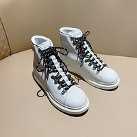 ALEXANDER MCQUEEN  Trending Women's men Leather Side Zip Lace-up Ankle Boots Shoes High Boots