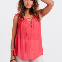 Neon Lights Lace-Up Top