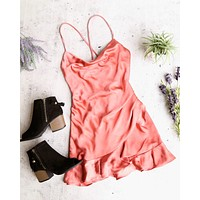 Final Sale - Shutting it Down Cowl Neck Satin Frilly Hem Front Wrap Romper in Rust