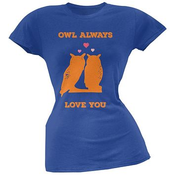 Valentine's Day - Paws - Owl Always Love You Royal Blue Soft Juniors T-Shirt