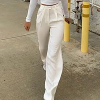 Wide Leg Pants Women High Fashion Vintage Pants Street Wear Causal Whtie High Waist Long Trousers