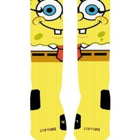Spongebob Custom Nike Elite Socks (Large (8-12))