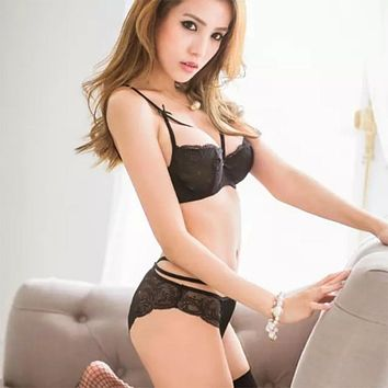 Sexy Lace Bras Sets Womens Underwear Embroidery Bandage Lady  Brassiere Bra + Panties Brief Lingerie Push Up Bra Underwire