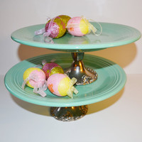 Turquoise Fiestaware Cake plate Cake Stand set of by JudysJunktion