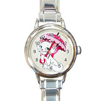 White Kitty w/Pink Bow & Umbrella on a Round Charm Watch...NEW