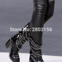 fashion women platform boots patent leather over the knee boots chunky heel gladiators boots pinted toe shoes
