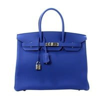 Hermes Blue Electric 35 cm Birkin Bag Togo Leather with PHW