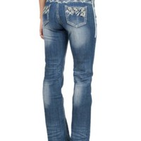 Rock & Roll Cowgirl Women's Light Vintage Wash Aztec Embroidery & Leather Pocket Mid Rise Boot Cut Jean
