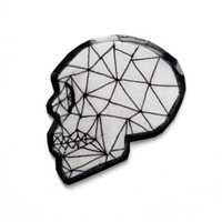 Geometric Human Skull Pin in Black and White