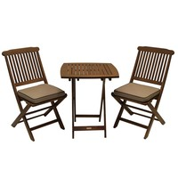 3-Piece Bistro Style Patio Furniture Chair Table Set with Cushions