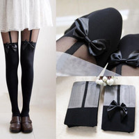 Sexy Women Gipsy Mock Fake Suspender Stereo Satin Bow Tight Thigh Pantyhose