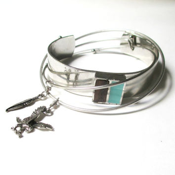 Feather Bangle & Turquoise Cuff Set. Bracelets Instant Collection Set of 3  Boho Trend Bracelet Stack