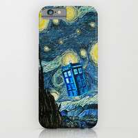 Flying Blue phone Box oil painting iPhone & iPod Case by Greenlight8
