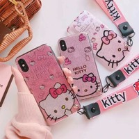 Lovely Pink Hello Kitty Case For iPhone X 7 8 plus Cartoon bling TPU Cover for iPhone 6 6S Plus 7 8 Plus back case 2 Lanyard