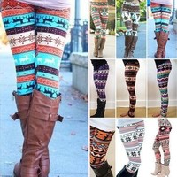 Womens Xmas Snowflake Reindeer Knitted Tights Pants Warm Leggings Skinny Slim Pencil Pants Trousers [8805156679]