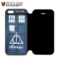 Always The Deathly Hollows Dr Who Tardis iPhone 5 5S Flip Case iPhonefy