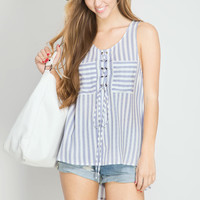 Blue Vertical Stripe Lace Up Tank