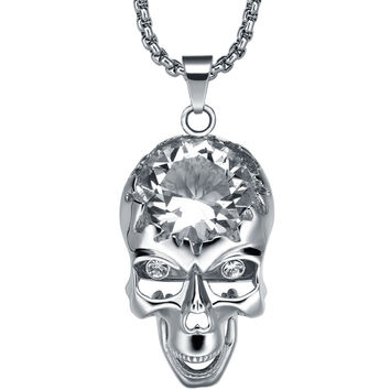 Stainless Steel Gothic Large Skull W. Cubic Zirconia Pendant Necklace