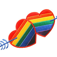 LGBT Gay Lesbian Pride Rainbow Flag Love Hearts Embroidered Applique Iron on Patch