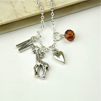 Personalized Giraffe Necklace with Your Initial and Birthstone