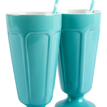 Carousel Set of 2 Milkshake Glasses with Straws - Pale Blue