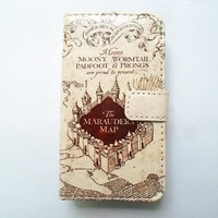 Hogwarts Marauder's Map Pattern Slim Wallet Card Flip Stand Leather Pouch Case Cover For Apple iphone 5 iphone 5S