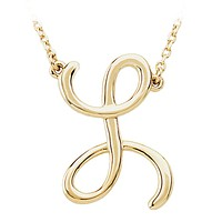 14k Yellow Gold, Olivia Collection, Medium Script Initial L Necklace
