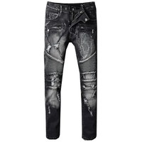 High Quality Design Men Jeans Straight Casual Stretch Biker Jeans Fashion Black Skinny Jeans Men Denim Distressed Ripped Jeans