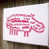 Hippo Word Art Screen Print Red on White Nursery by BlueJacaranda