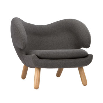 Winged Lounge Chair in Charcoal