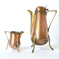 F. & R. Fischer Copper and Brass Coffee Pot and Creamer, Germany ca. 1914, Tea Pot, Jug, Jugendstil, Art Nouveau, Pre-Modernist, Bauhaus