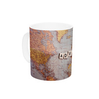 "Sylvia Cook ""Adventure Map"" World Ceramic Coffee Mug"