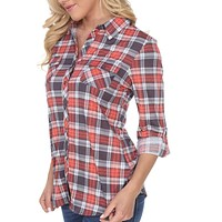 Perfectly Plaid  3/4 Sleeve Button Down Shirts ~ 4 Colors