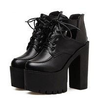 New Black Spring Boots Women Platform Lacing Thick Heels Leather Party Shoes Ultra High Heels Cut Out Fashion Boots